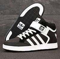 Мужские кроссовки Adidas Varial Mid черные с белым. Фото в живую. Реплика