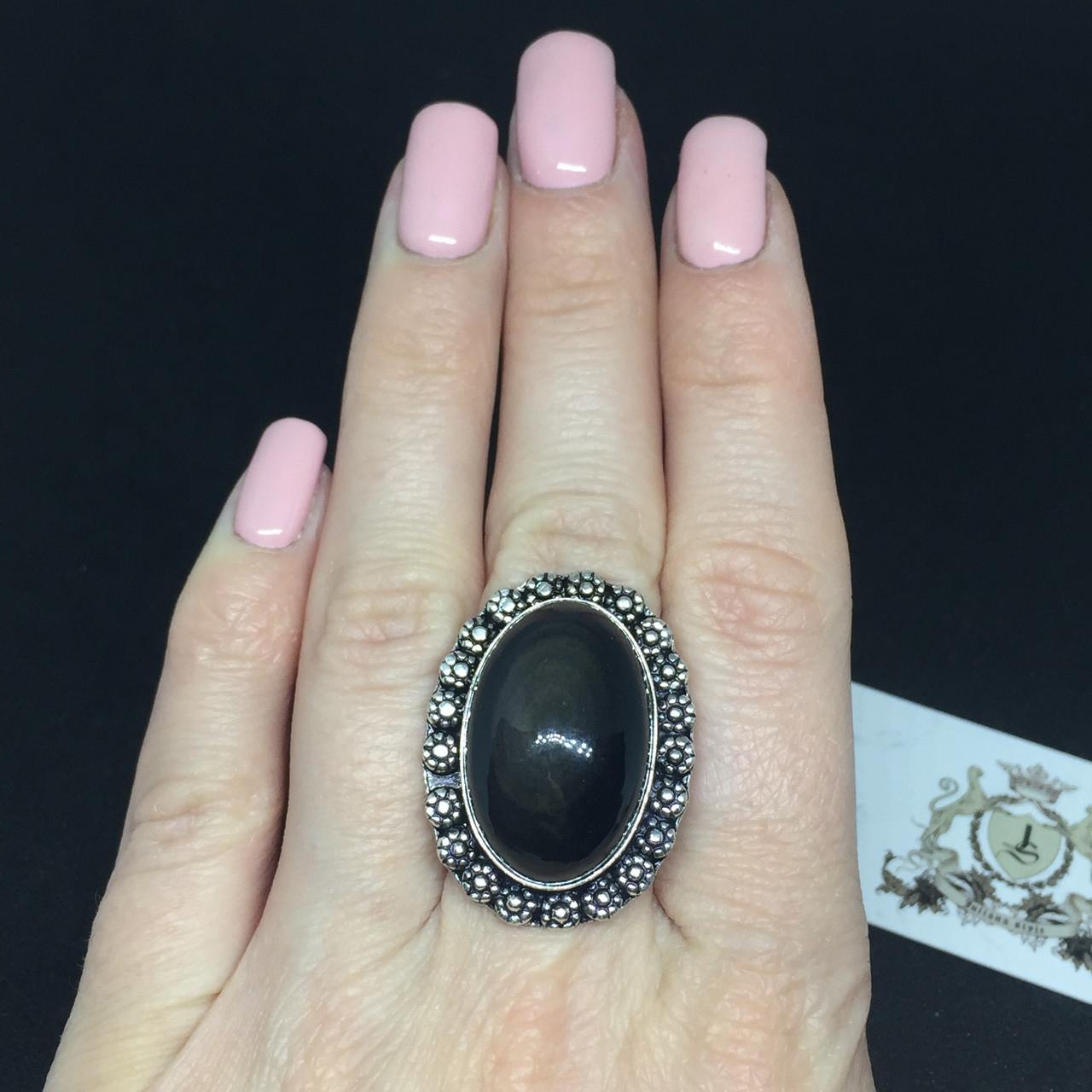 Обсидиан овальное кольцо с натуральным обсидианом в серебре размер 18 Индия!