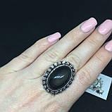 Обсидиан овальное кольцо с натуральным обсидианом в серебре размер 18 Индия!, фото 2