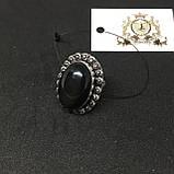 Обсидиан овальное кольцо с натуральным обсидианом в серебре размер 18 Индия!, фото 3