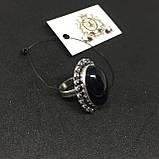 Обсидиан овальное кольцо с натуральным обсидианом в серебре размер 18 Индия!, фото 4