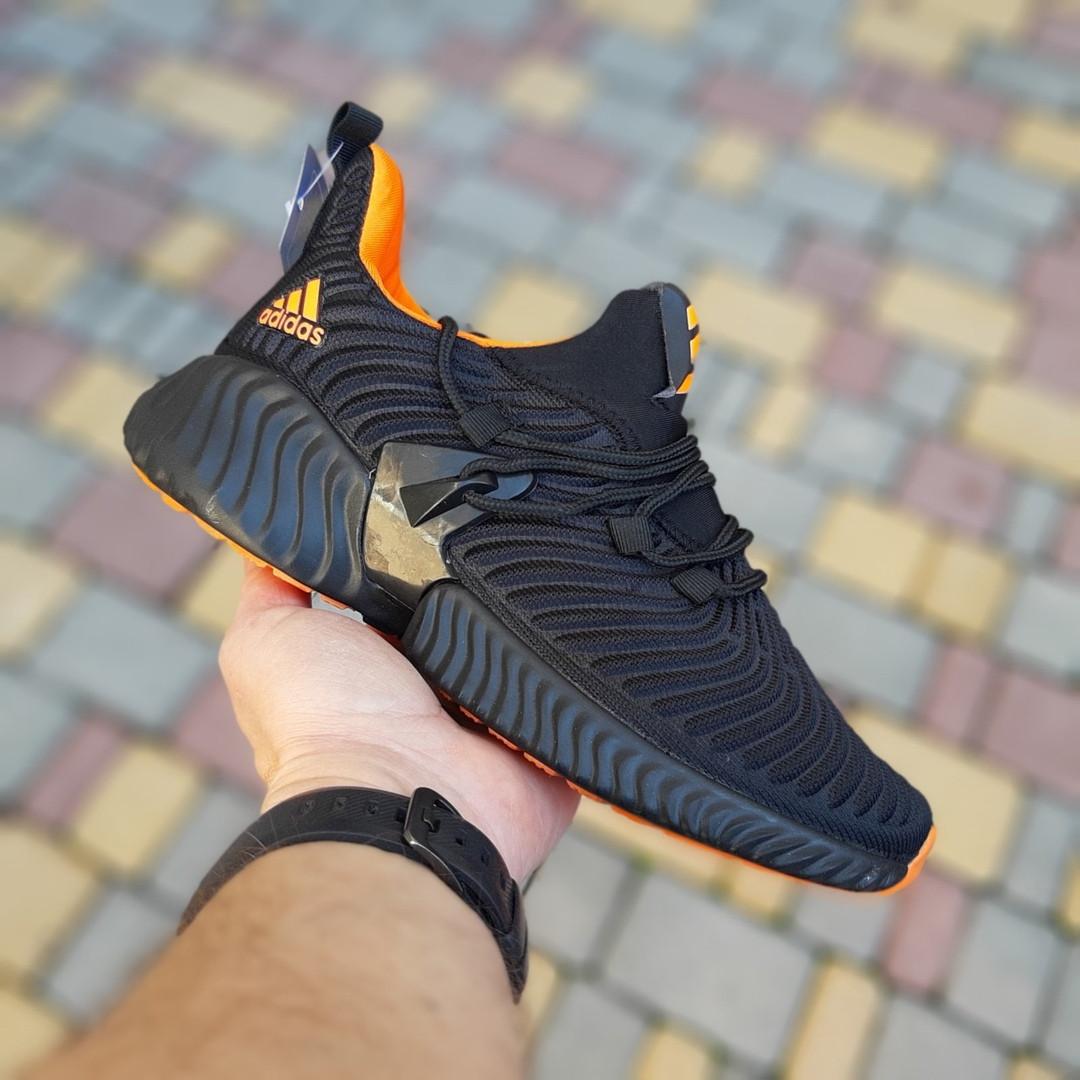 Кроссовки женские Adidas Alphabounce чёрные с оранжевым
