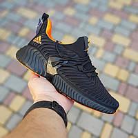 Кроссовки женские Adidas Alphabounce чёрные с оранжевым, фото 1
