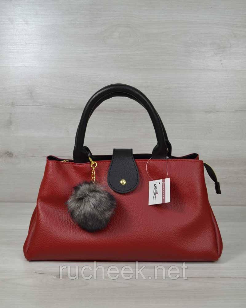 Молодежная сумка Альба красная с черным