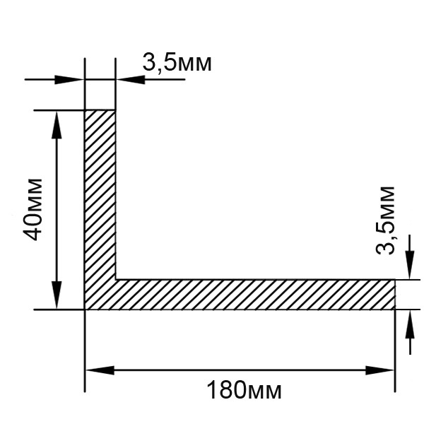 Алюминиевый уголок 180х40х3,5, Без покрытия