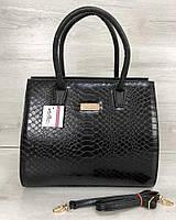 Женская сумка Бочонок черная кобра, фото 1