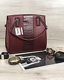 Каркасная женская сумка Адела бордового цвета со вставкой бордовый крокодил, фото 5