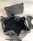 Молодежная сумка из эко-кожи  Люверс серого цвета (никель), фото 3