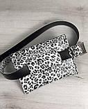 Женская сумка на пояс черно-белый леопард, фото 2