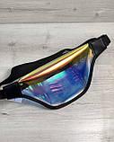Стильная женская сумочка Бананка перламутровый силикон с черным (полупрозрачная), фото 2