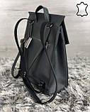 Кожаная  сумка рюкзак молодежный серого цвета, фото 2