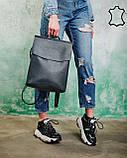 Кожаная  сумка рюкзак молодежный серого цвета, фото 3