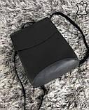 Кожаная  сумка рюкзак молодежный серого цвета, фото 4
