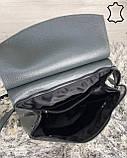 Кожаная  сумка рюкзак молодежный серого цвета, фото 5