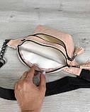 Стильная сумочка на пояс Элен пудровый крокодил, фото 4