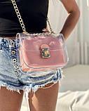 2в1 Молодежная сумка Селена силиконовая с косметичкой пудрового цвета, фото 3