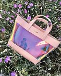 2в1 Перламутровая молодежная сумка Амира пудрового цвета (полупрозрачная), фото 3