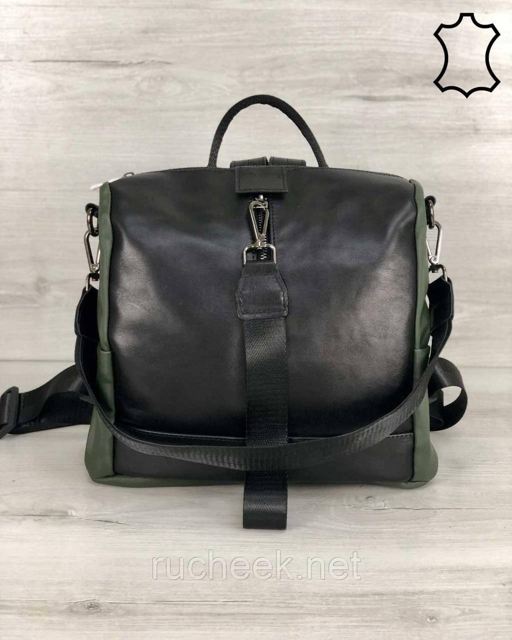 Кожаная  сумка рюкзак Angelo черного с оливковым цвета