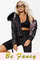 Черная куртка с мехом