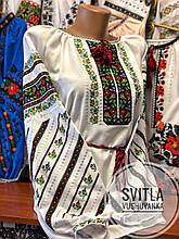 Жіноча вишиванка у білому кольорі у національному стилі «Веснянка»