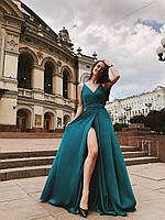 Красивое зелёное платье в пол (XXS, XS/S, S/M)