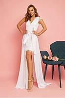 Вечернее белое кружевное платье со съемной длинной юбкой (S)