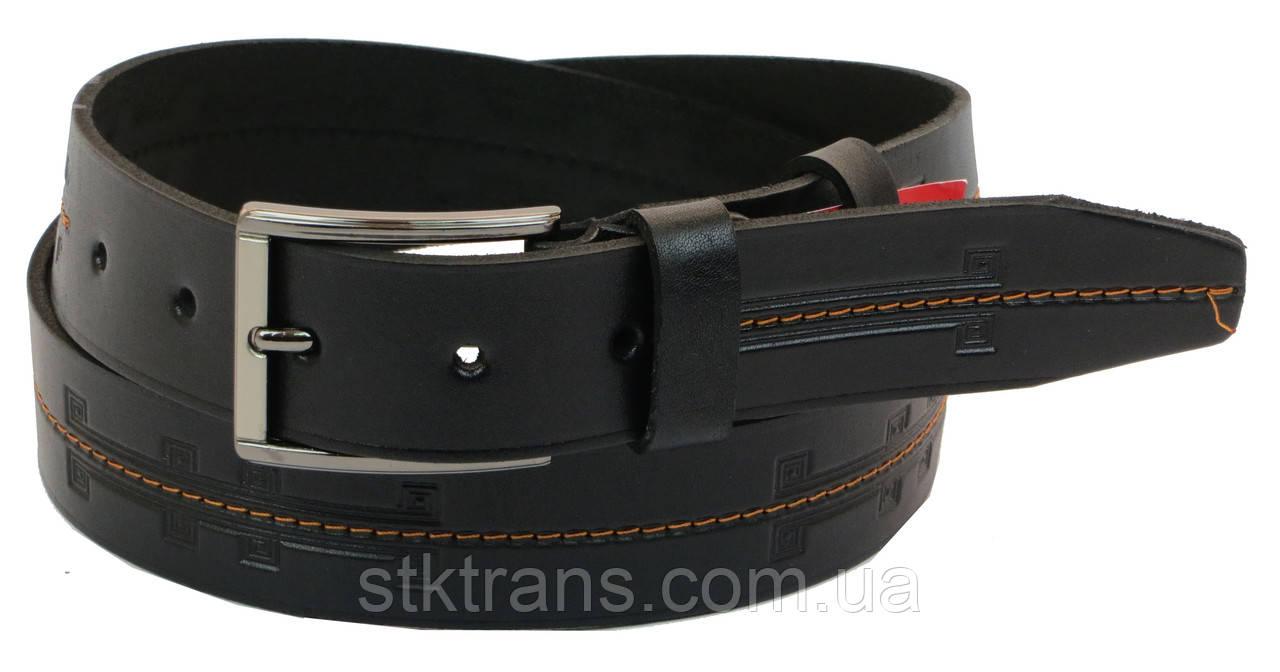 Кожаный ремень Skipper 110-130 x 3.8 см Черный (1024-38)