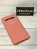 Чехол Silicone case для Samsung Galaxy S10 Peach
