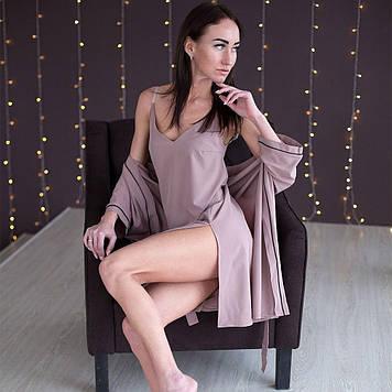 Женская ночная рубашка на брителях + халат
