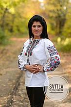 Жіноча біла вишита сорочка хрестиком із натуральної тканини «Мамин оберіг»