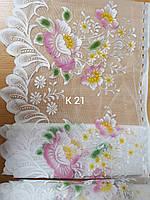 Гардина біла коротка з кольоровим узором висота 45 см/ Гардина короткая белая с цветным узором высотой 45 см., фото 1
