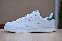 Кроссовки женские Adidas Stan Smith белые с зеленым, фото 1