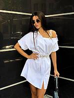 Платье-рубашка с бретелькой из стразов Код121ВИ