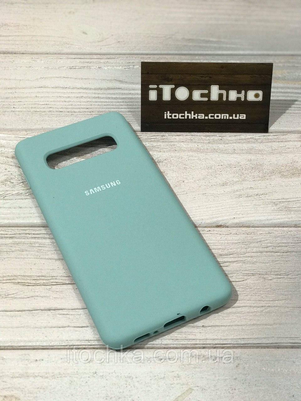 Чехол Silicone case для Samsung Galaxy S10 Plus Mint
