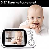 """Відеоняня для спостереження за дітьми Baby Monitor VB603 3.2"""" з датчиком звуку, нічний бачення + термометр, фото 2"""