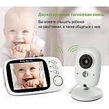 """Відеоняня для спостереження за дітьми Baby Monitor VB603 3.2"""" з датчиком звуку, нічний бачення + термометр, фото 3"""