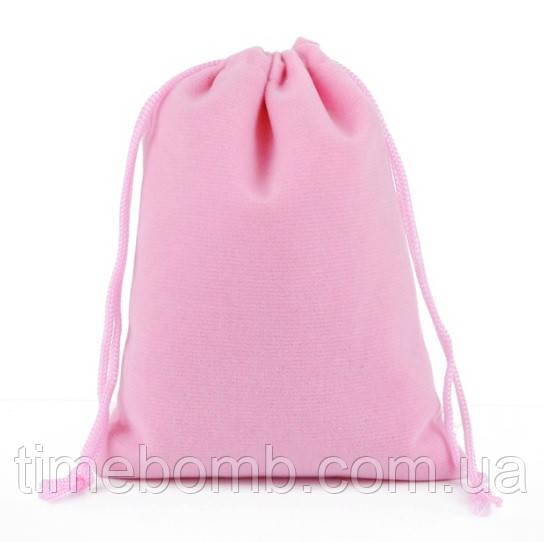 Розовый бархатный мешочек 7 х 9 см