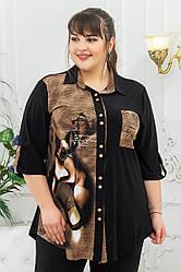 Красивая рубашка больших размеров Киця