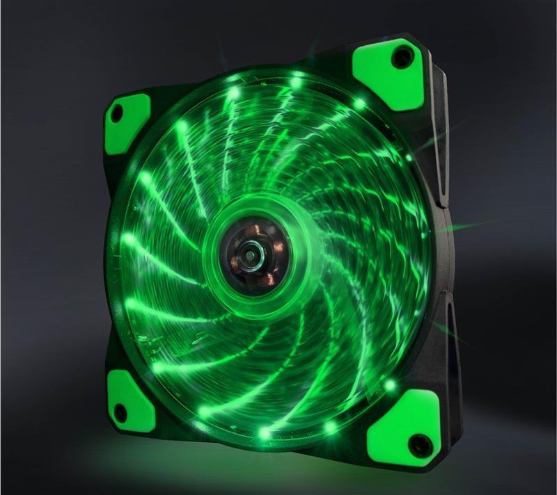 Вентилятор Frime Iris LED Fan 15LED Green (FLF-HB120G15); 120х120х25мм, 3-pin+4-pin