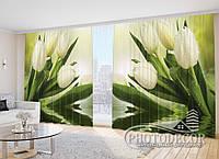 """Фото Штори в зал """"Білі тюльпани у воді"""""""