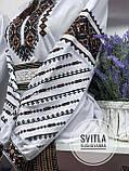 Красива вишита жіноча сорочка білого кольору із пишними довгими рукавами «Дзвунка», фото 6