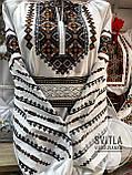Красива вишита жіноча сорочка білого кольору із пишними довгими рукавами «Дзвунка», фото 5