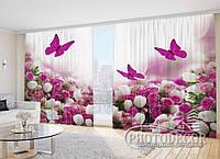"""Фото Штори в зал """"Білі тюльпани з трояндами і метеликами"""""""