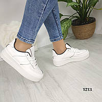 Женские белые кроссовки с черными вставками, хит сезона, фото 1