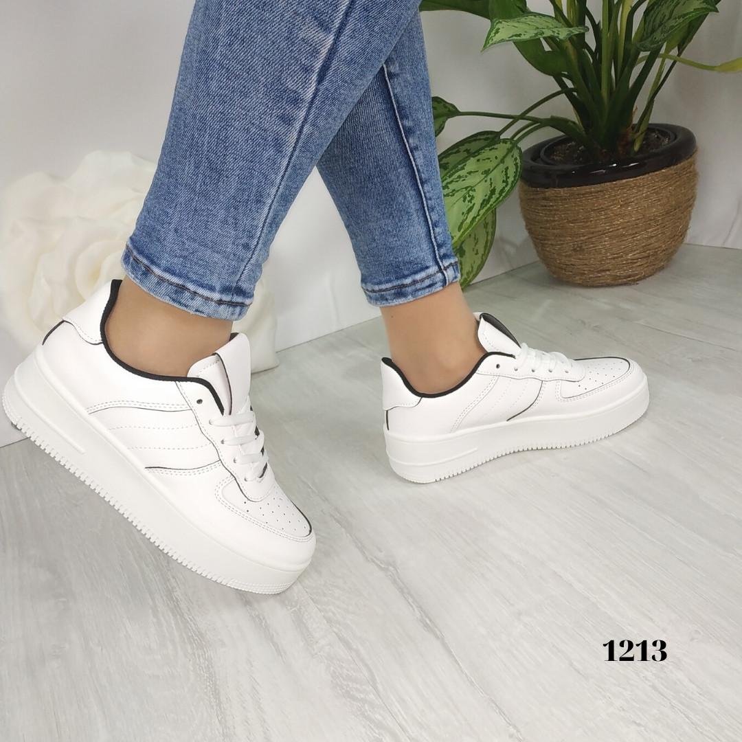 Женские белые кроссовки с черными вставками, хит сезона