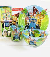 Набор посуды 5 предметов для кормления детей Синий трактор