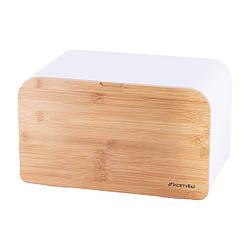 Хлебница Kamille 35*21,5*21 см из бамбука и нержавеющей стали с откидной крышкой, красивая хлебница