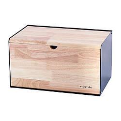 Хлебница Kamille 35*21,5*19,5 см из бамбука и нержавеющей стали с двумя откидными крышками