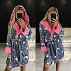 Теплый женский короткий халат с капюшоном 2020