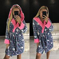 Теплый женский короткий халат с капюшоном 2020, фото 1